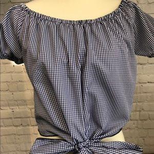 Crop top with elastic neckline, NWOT small